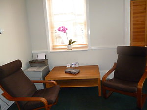 Therapy Rooms to Hire. Room 1 seating brown